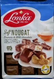 Lonka Soft Nougat with Peanuts and Milk Chocolate 220g