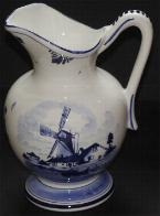 Delft Blue Handpainted Tulip Pitcher -- with Windmill 24cm