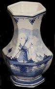 DeWit Delft 6 Sided Vase Blue Windmill