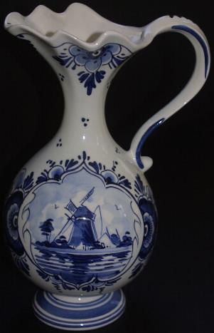 DeWit Delft Pitcher Blue with Windmill.