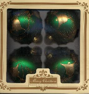 "4"" Mouthblown Handpainted Green Ornaments"