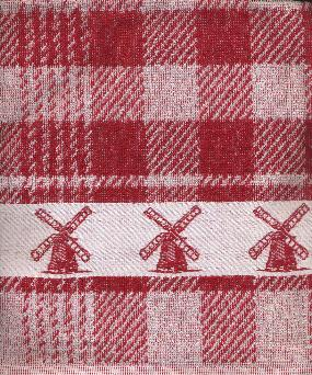 Kitchen Towel -- Red and White with Windmill Border
