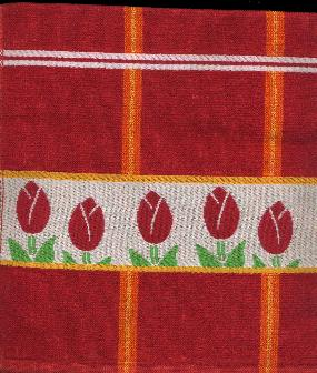 Kitchen Towel -- Red with Tulip Border -- 50X50cm
