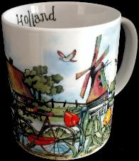 Mug -- Whimsical Mug with Bike and Windmills