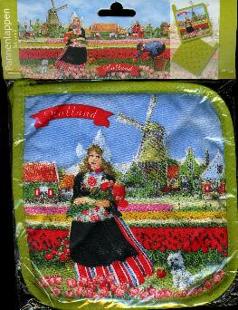 Dutch Girl in Tulip Field -- 2 Pot Holders