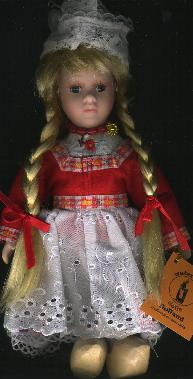 Porcelain Doll -- Dutch Girl in Traditional Red Dress -- 26cm
