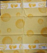 Tea Towel -- Yellow with Cheese Border -- 65X60cm