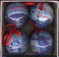 Ornaments -- Blue Mills and Tulips Set/4