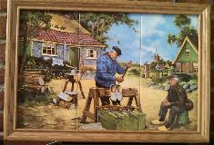 Klompenmaker - Wooden Shoe Maker - Framed Tile Set