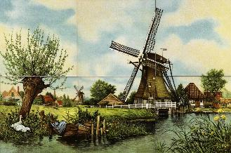 Loose six tile set.  Windmill with boat and ducks