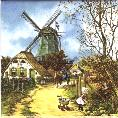 Tile 002 -- Fall -- Green windmill with little girl -- 6x6 in
