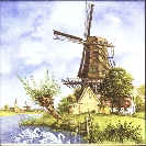 Tile 030 -- Windmill with Swans -- Says Holland -- 6x6 inches