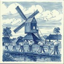 Tile 050 -- Delft Blue Windmill with Wheat 6x6 inches