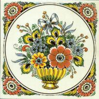 Tile # 070 Delft Poly Flowers with bow in circle