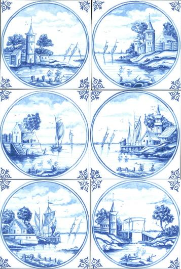 5 inch Landscapes in Circle Tile --blue-- Price each.