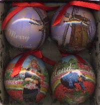 Ornaments -- Colored Mills and Tulips Set/4
