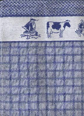 Tea Towel - Blue on White with Windmill Boat Cow Flowers Border