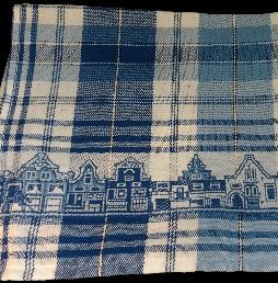 Tea Towel -- Blue and White Canal Houses 60x65cm
