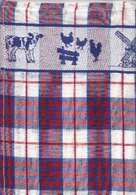 Tea Towel - Red and Blue on White with Windmill Calf Chickens 65