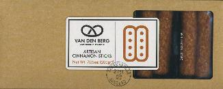 Van Den Berg Artisan CINNAMON STICKS -- 200g